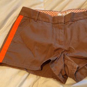 BNWT J. Crew khaki shorts with orange stripe